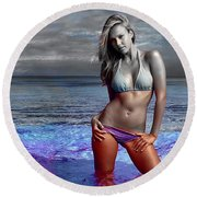Jessica Alba Round Beach Towel