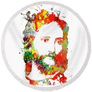 Jesus Christ - Watercolor Round Beach Towel