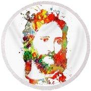 Jesus Christ - Watercolor Round Beach Towel by Doc Braham