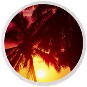 Round Beach Towel featuring the photograph Kamaole Nights by Sharon Mau