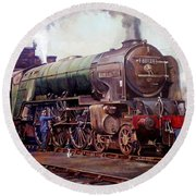 Round Beach Towel featuring the painting Kenilworth On Shed. by Mike  Jeffries