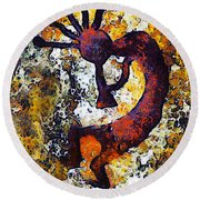 Kokopelli The Flute Player Round Beach Towel by Barbara Snyder