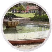 La Purisima Fountain Round Beach Towel