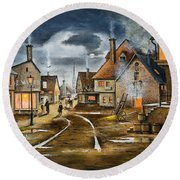 Round Beach Towel featuring the painting Lady At The Window by Ken Wood