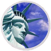 Lady Liberty Round Beach Towel by Jon Neidert