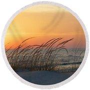 Lake Michigan Sunset Panorama Round Beach Towel