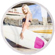 Landscape Surfing Portrait Round Beach Towel