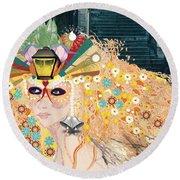 Round Beach Towel featuring the digital art Lantern Fairy by Kim Prowse