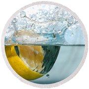Lemon Splash Into Water Round Beach Towel