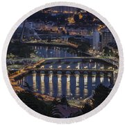 Round Beach Towel featuring the photograph Lerez River Pontevedra Galicia Spain by Pablo Avanzini