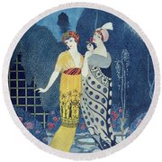 Les Modes Round Beach Towel by Georges Barbier
