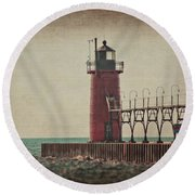 Lighthouse At South Haven Round Beach Towel