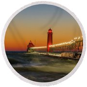 Lighthouse On The Jetty At Dusk, Grand Round Beach Towel