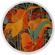 Round Beach Towel featuring the painting Lilies by Marina Gnetetsky