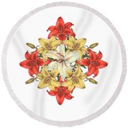 Lily Cluster Round Beach Towel