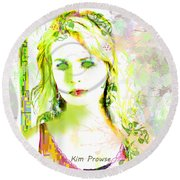 Round Beach Towel featuring the digital art Lily Lime by Kim Prowse