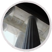 Lincoln Stained Glass And Columns Round Beach Towel