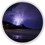 Lightning Over The Ocean Round Beach Towel