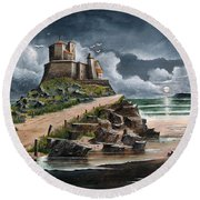 Round Beach Towel featuring the painting Lindisfarne by Ken Wood