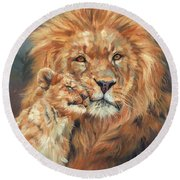 Lion Love Round Beach Towel by David Stribbling