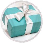 Little Blue Gift Box Round Beach Towel