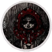 Little Red Riding Hood Round Beach Towel by Akiko Okabe