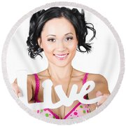 Live Life To The Fullest Round Beach Towel