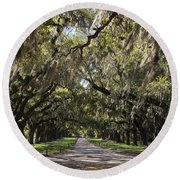 Live Oaks Round Beach Towel