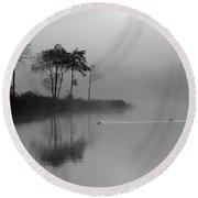 Loch Ard Trees In The Morning Mist Round Beach Towel