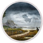 Round Beach Towel featuring the painting Loch Lomand by Ken Wood