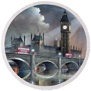 Round Beach Towel featuring the painting London Pride by Ken Wood