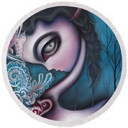 Lonesome   Round Beach Towel by Abril Andrade Griffith