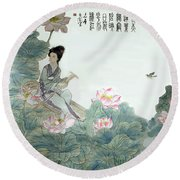 Round Beach Towel featuring the photograph Lotus Pond by Yufeng Wang