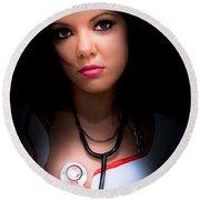 Love Struck Stethoscope Nurse Round Beach Towel