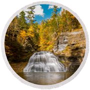 Lower Treman Falls Round Beach Towel