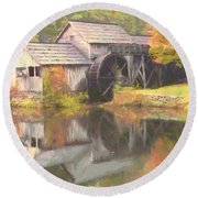 Mabry Mill Round Beach Towel by Lynne Jenkins
