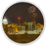 Madison New Years Eve Round Beach Towel by Steven Ralser