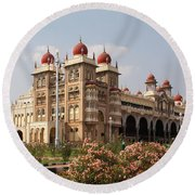 Maharaja's Palace And Garden India Mysore Round Beach Towel
