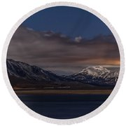 Mammoth At Night Round Beach Towel by Cat Connor