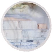 Round Beach Towel featuring the photograph Mammoth Terraces by Michael Chatt