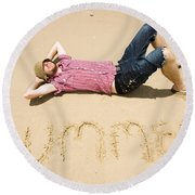 Man Of Summer Round Beach Towel