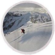 Man Skiing, Valhalla Mountain Touring Round Beach Towel