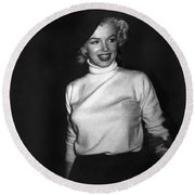 Marilyn Monroe In Korea Round Beach Towel by Underwood Archives