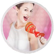 Mc Female Pin Up Singing With Lollipop Microphone Round Beach Towel