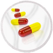 Medication Tablets On White Background Round Beach Towel