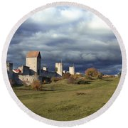 Medieval City Wall Defence Round Beach Towel