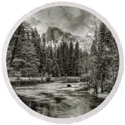 Ascending Clouds Toned Round Beach Towel