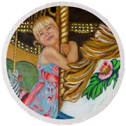 Round Beach Towel featuring the painting Merry-go-round by Sharon Schultz