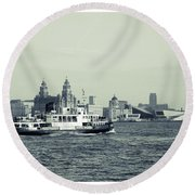 Mersey Ferry Round Beach Towel by Spikey Mouse Photography