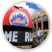 Mets Home Run Apple Round Beach Towel